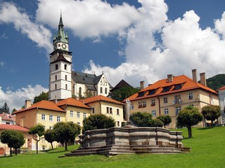 Church and fountain in Kremnica