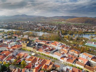 Aerial view of Trencin town, Slovakia