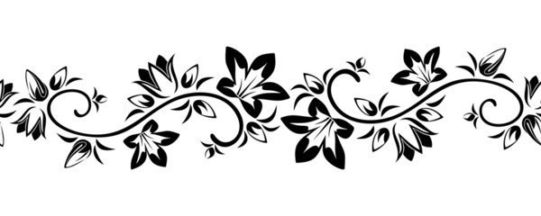 Horizontal seamless vignette with flowers. Vector illustration.