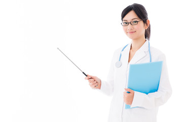attractive asian doctor teaching on white background