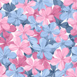 Seamless background with blue and pink flowers. Vector.