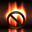 Burning warning  prohibition sign