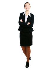 Full-body portrait business woman isolated on white background