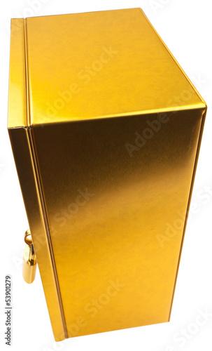 boîte dorée avec cadenas, coffre-fort tirelire