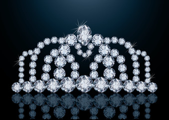 Pretty diamond diadem, vector illustration