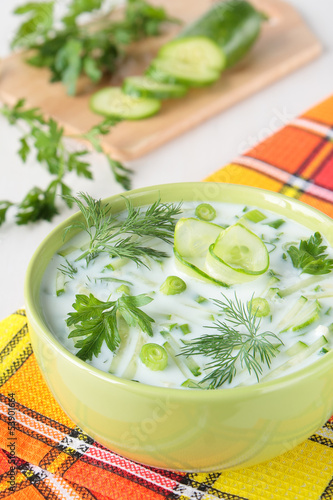 Cold soup made ​​from yogurt and cucumber
