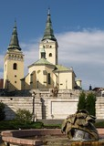 Church and fountain in Zilina
