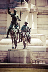 Madrid,Spain-monuments Don Quixote and Sancho Pansa