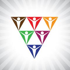 social media community people as pyramid network- simple vector