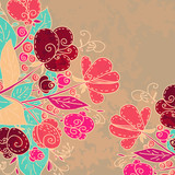 Floral background with flowers and text field