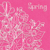Pink  floral background with with white flowers and text field