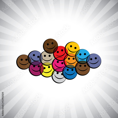 colorful happy smiling kids(children) faces- simple vector graph