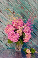 pink hydrangea and astilbe still life bouquet