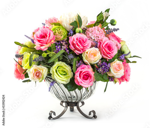 Foto op Canvas Hydrangea Bouquet of roses in glass vase