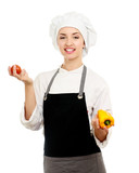 Attractive cook woman with vegetables, a over white background