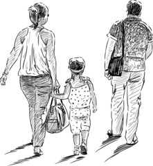 Family on walk