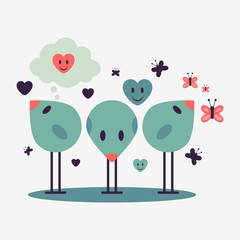 Illustration of three cute little birds