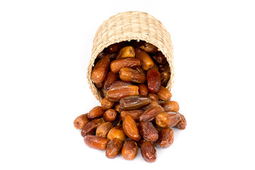big sack of fresh dates isolated on a white background