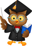Owl wearing a graduation uniform giving a presentation.