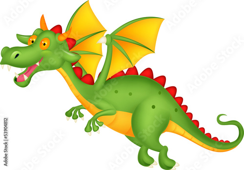 Cute dragon flying