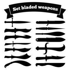 Set of silhouettes of knives