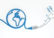 partnership icon with network cable and world symbol