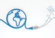 sale symbol with network cable and world symbol