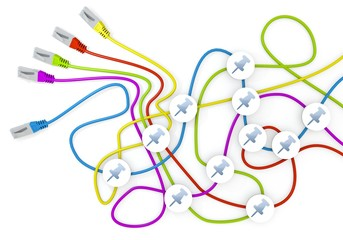 3d graphic of a isolated pin icon nodes in network cable chaos