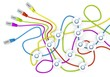 Illustration of a happy man icon nodes in network cable chaos