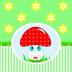 Cute happy mushroom