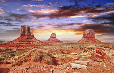 The Monument Valley with beautiful sky.