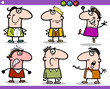 cartoon people emotions characters set