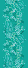 Vector green succulents vertical seamless pattern background