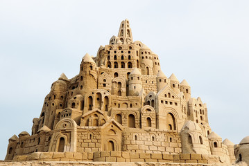 wonderful sandcastle under cloudy sky