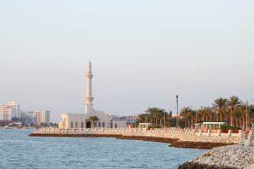 A mosque at Muharraq corniche, Bahrain