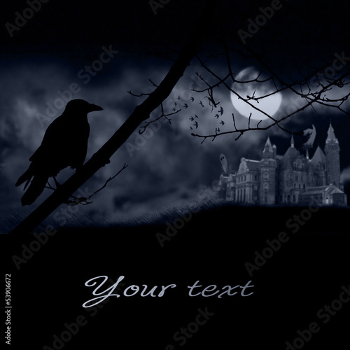 ghosts, old gravestones, moon and black raven
