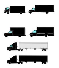trucks in silhouette