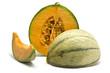 charentais melon sliced in 3