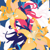 seamless pattern with lily - 53907434