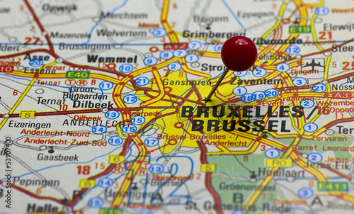 Brussels pointed with red push pin