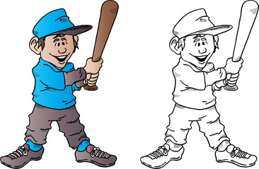 Vector Cartoon of a Baseball Kid With Bat