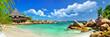 Leinwanddruck Bild - holidays in tropical paradise. Seychelles islands