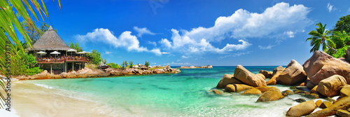 Poster Eiland holidays in tropical paradise. Seychelles islands