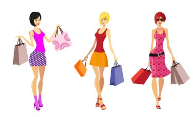 attractive ladies, shopping