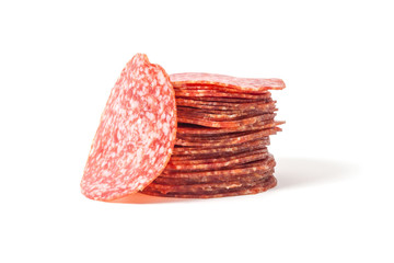 slices salami isolated on a white