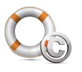 Lifebuoy and C symbol.Isolated on white.