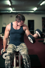 Young bodybuilder is doing biceps exercise with dumbbell curls