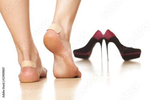 canvas print picture use of sticky plasters due to tight footwear