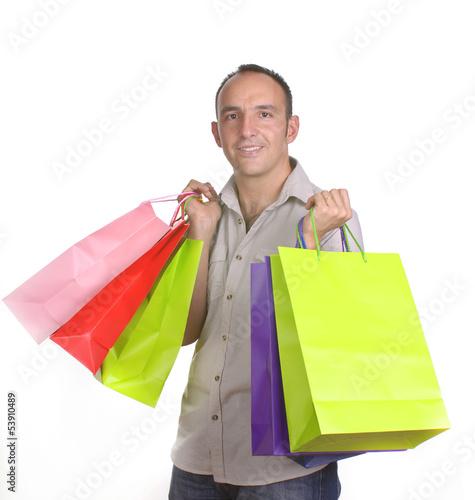 Fotobehang Restaurant Hombre cargado con bolsas de compras
