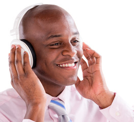 Business man with headphones